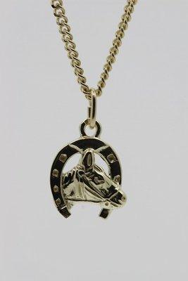 Gouden Hoef met paardenhoofd ketting hanger