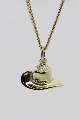 Gouden Cowboyhoed ketting hanger