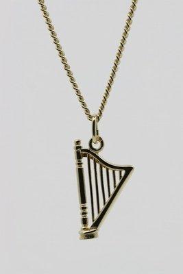 Gouden Harp ketting hanger