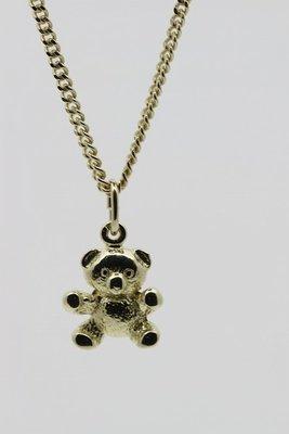Gouden Knuffelbeer ketting hanger