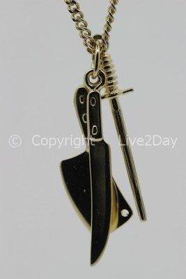 Gouden Slager messenset ketting hanger