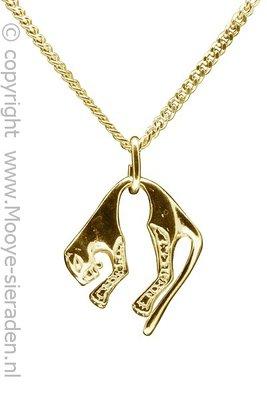 Gouden Panter middel ketting hanger