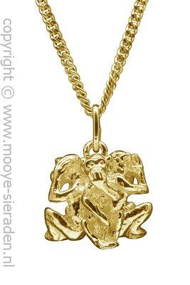 Gouden Apen horen zien zwijgen ketting hanger