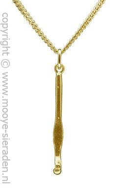 Gouden Haaknaald ketting hanger