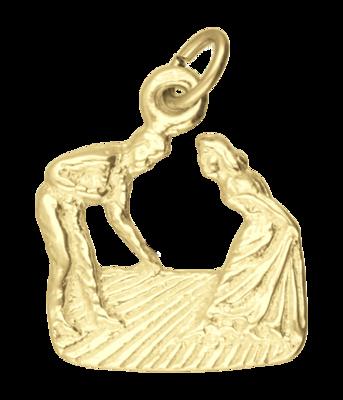 Gouden Danspaar vragend ketting hanger