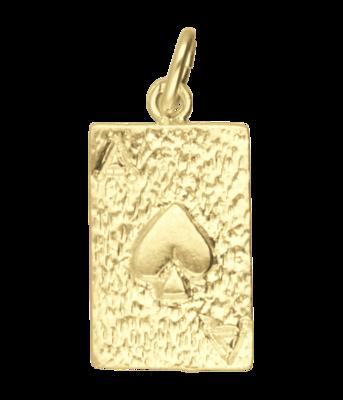 Gouden Schoppen Aas ketting hanger