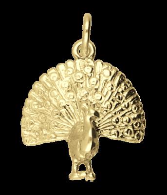 Gouden Pauw ketting hanger