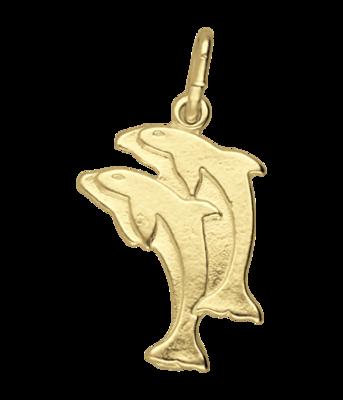 Gouden Dolfijn dubbel vlak ketting hanger