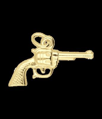 Gouden Revolver middel ketting hanger