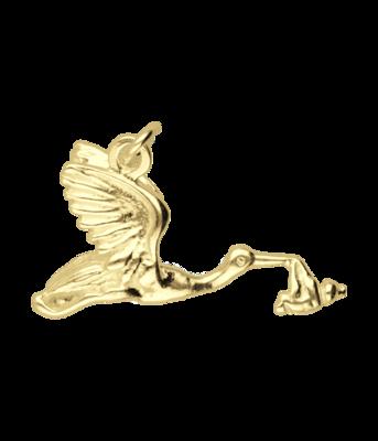 Gouden Ooievaar met baby ketting hanger
