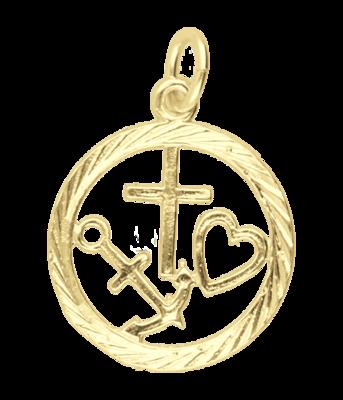 Gouden Geloof, Hoop en Liefde in ring ketting hanger