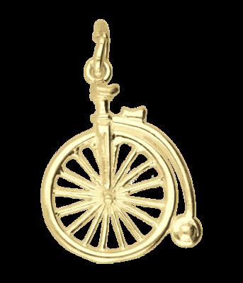 Gouden Antieke fiets Velocipede ketting hanger