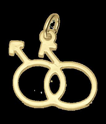 Gouden Man-Man teken ketting hanger