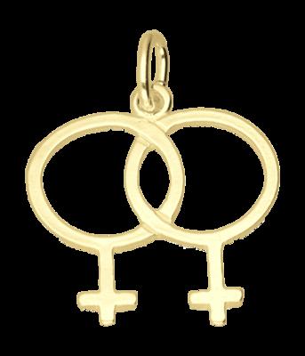 Gouden Vrouw-Vrouw teken ketting hanger