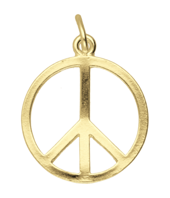 Gouden Vredesteken ketting hanger