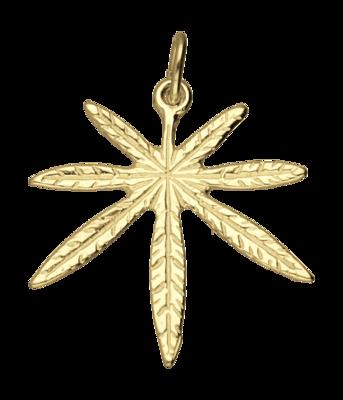 Gouden Hennepblad wiet groot 2 ketting hanger
