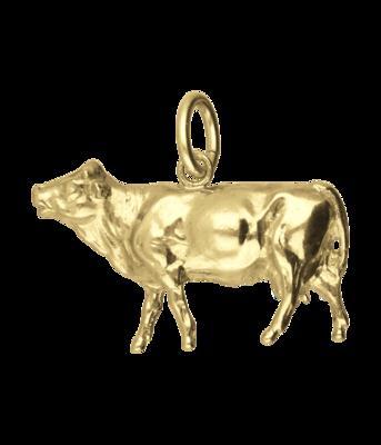 Gouden Koe groot ketting hanger
