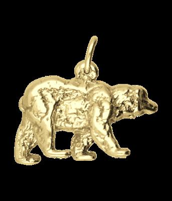Gouden Beer massief ketting hanger