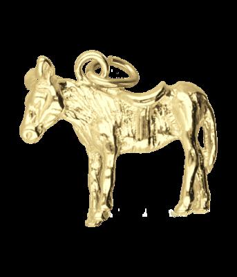 Gouden Ezel massief ketting hanger